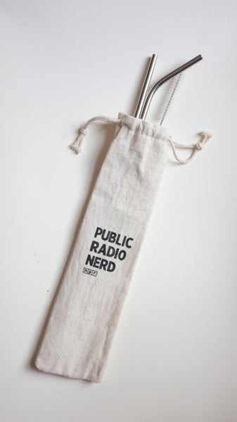 PUBLIC RADIO NERD Stainless Steel Straw Set
