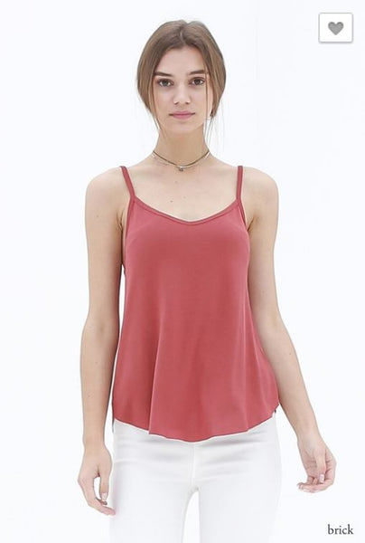 Double Zero Brick Red Spaghetti Tank Top