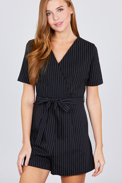 Short Sleeve V-neck Surplice W/waist Belt Stripe Romper
