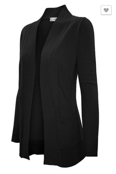 Cardigan Sweater Open Front with Pockets black - Plus Size Available