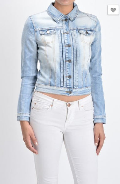 Chiqle Denim Jacket Regular Mid Blue Cropped
