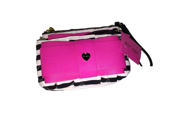 Betsey Johnson small white black stripes - pink ribbon wallet
