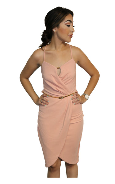 Peach & Pink Dress with Gold Belt with Rose