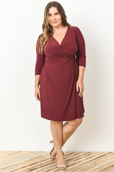 Burgundy Dress with Knot on side - Plus Size Dress