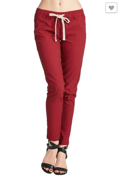 Trinity Stretch Pants Red Drawstring Jogger Pants