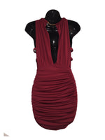 Burgundy Gold Collar Cocktail Dress - Medium
