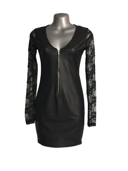 Candy Faux Leather - Zip Down Dress
