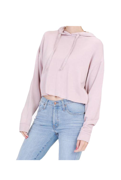 Dusty Pink Crop Top Hoodie