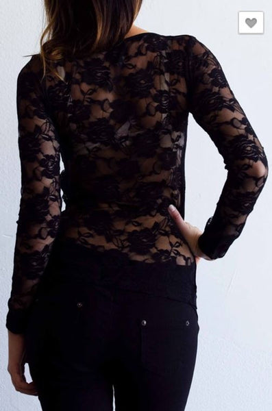 Black Rose Back-lace Front Strap Blouse