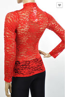Red Rose Back-lace Blouse