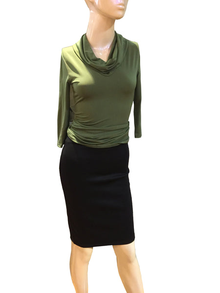 Emma Black Pencil Skirt - Below Knee