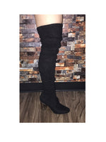 Stella Boots Clear Heel - Knee High- Black Suede