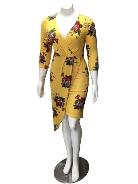Plus Size Yellow Dress w/ Flowers