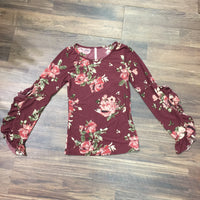 Brick Floral Bell Sleeve Top