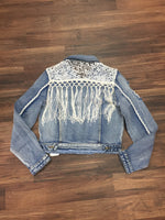 Chiqle Crochet Denim Jacket Cropped