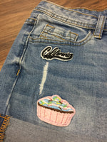 Chiqle Cupcake Patched Denim Shorts