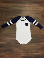 Blue and White Baseball Shirt
