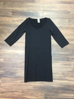 Black Long Fitted Blouse top with 3/4 sleeves