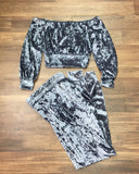 Ellen Velvet Pants and Crop Top Set - Light Blue