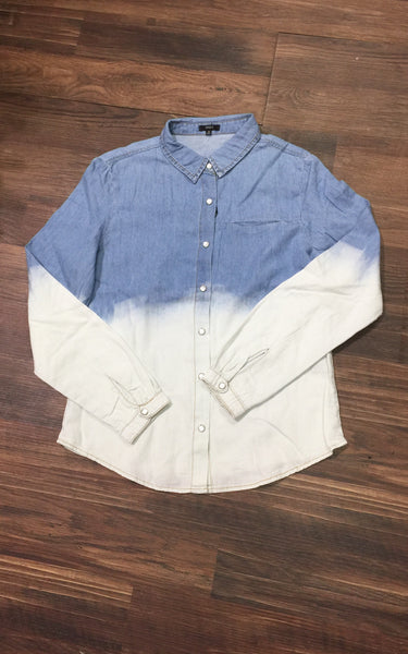 Chiqle Ombre Button Down Denim Shirt Two Tone