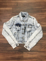 Chiqle Denim Jacket Acid Dark Wash (Design and Color Vary) Cropped