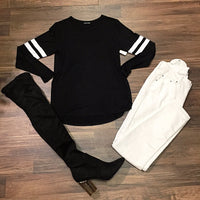 Black Long Sleeve Top with White Stripes