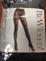 BeWicked Sheer Spandex Flower Jacquard French Cut Pantyhose