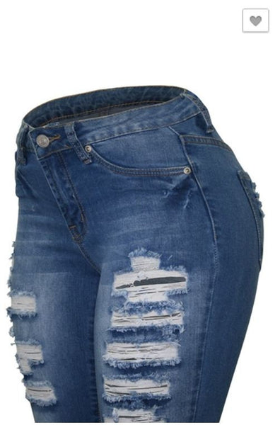 Cielo Ripped Jeans Mid Blue