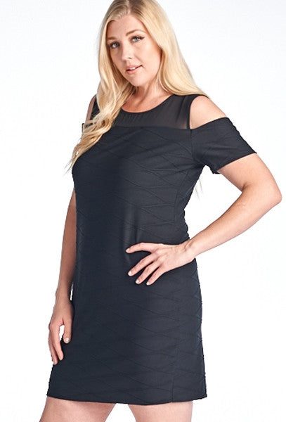 Gilli Black Off Shoulders Plus Size Dress