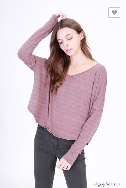 Striped Semi Crop Top Red and Gray