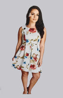 Gilli Ivory Flowery Short Plus Size Dress
