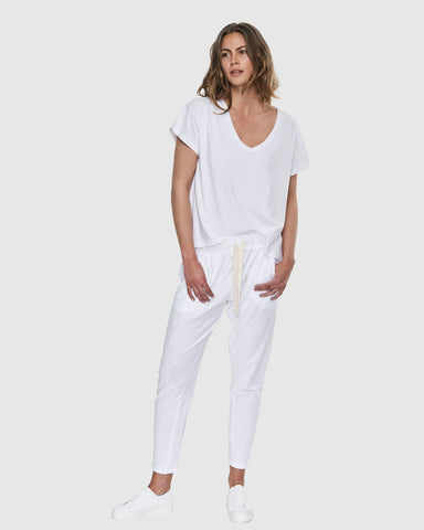 Deep V Neck | White