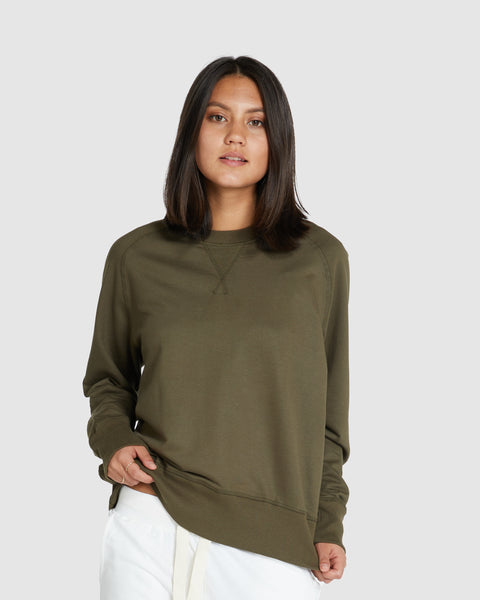 Raglan Terry Sweat | Olive