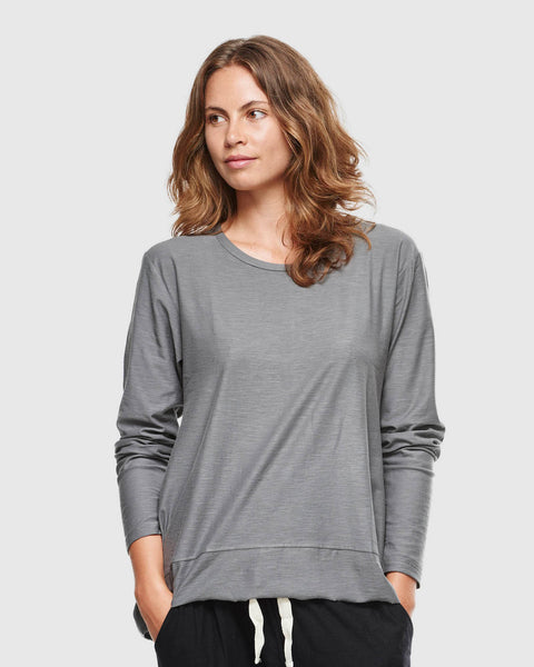 Slub Long Sleeve Top | Charcoal