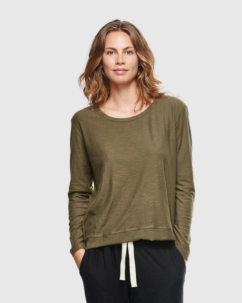Slub Long Sleeve Top | Olive