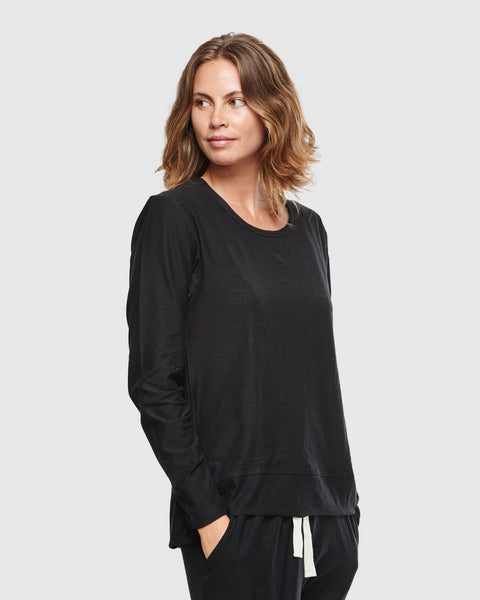 Slub Long Sleeve Top | Black