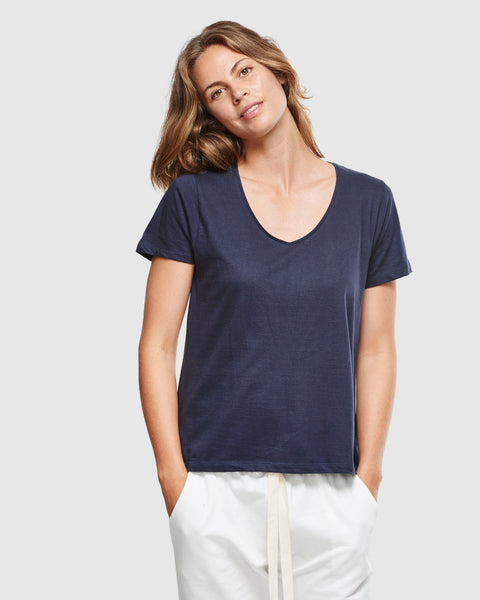 Classic V Neck Tee | French Navy