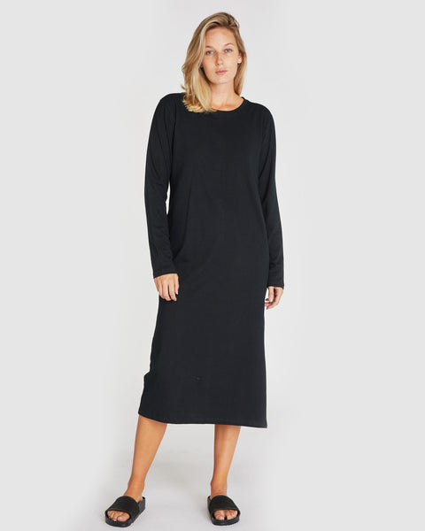 The Boxy Long Sleeve Dress | Squid Ink