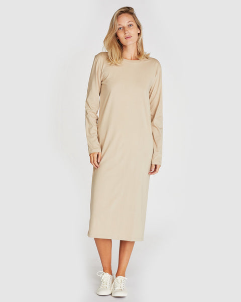 The Boxy Long Sleeve Dress | Pebble