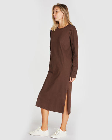 The Boxy Long Sleeve Dress | Deep Forest