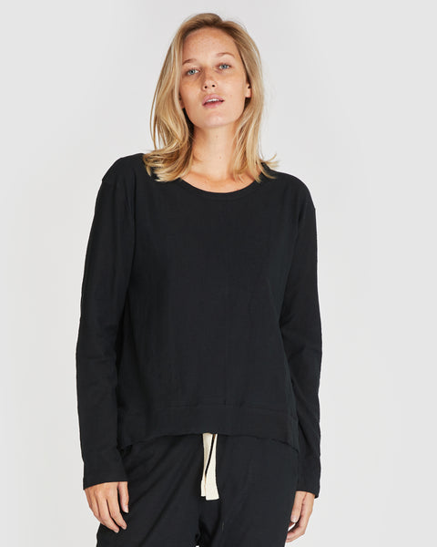 The Raw Hem Slub Long Sleeve | Squid Ink