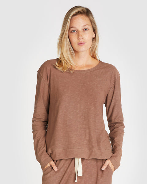 The Raw Hem Slub Long Sleeve | Mocha