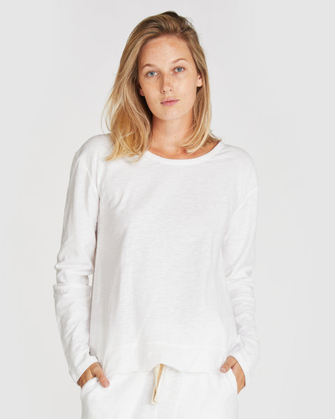 The Raw Hem Slub Long Sleeve | White