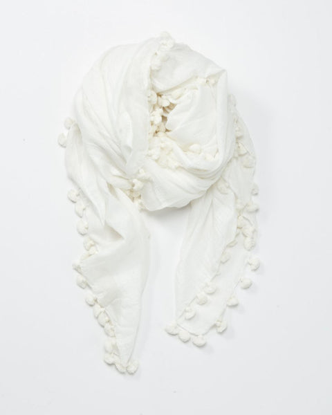 Pom Pom Scarf | Winter White