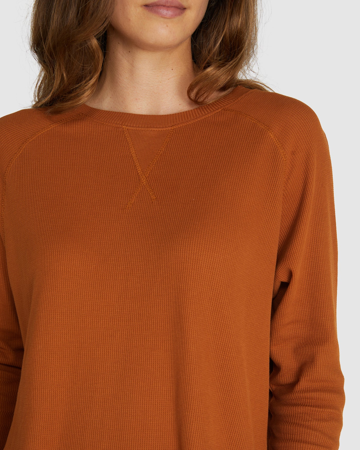 Raglan Waffle Sweat | Red Earth