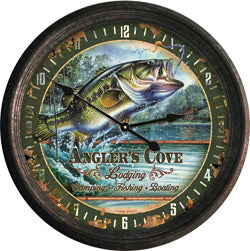 "Rivers Edge Products 15"" Rusted Bass Clock"