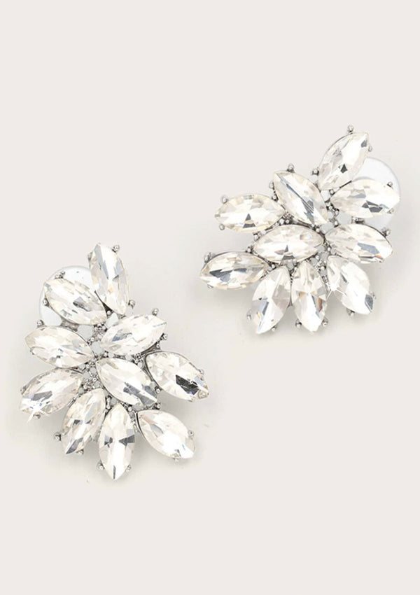 Blanc Crystal Cluster Earrings