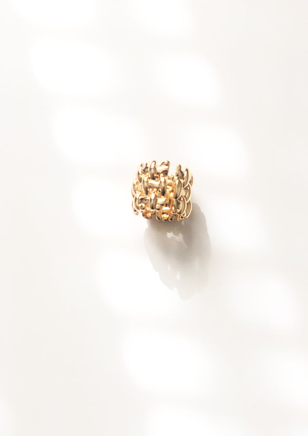 Golden Basket Weave Cuff Ring