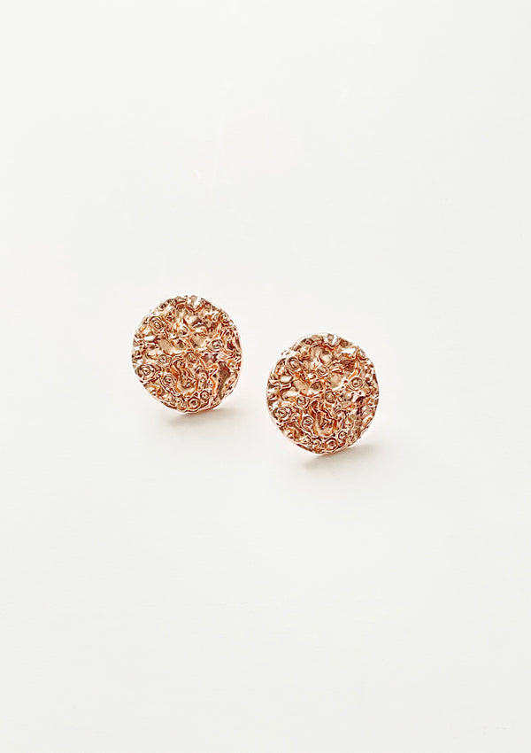 Round Textured Stud Earrings