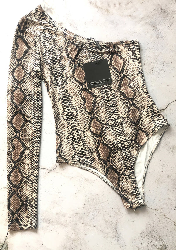 One Shoulder Snake Print Bodysuit